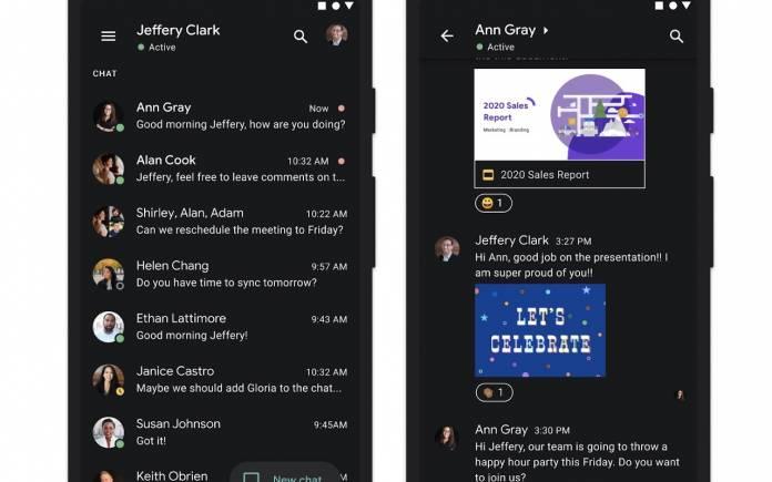 Google Chat Dark Theme