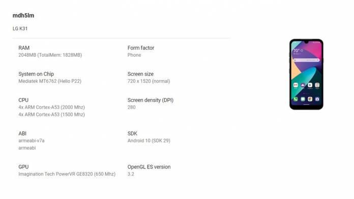 LG K31 중급 스마트 폰, 구글 플레이 콘솔에서 발견
