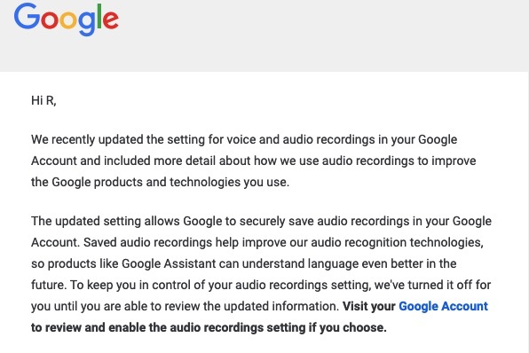 Google Audio Setting Privacy