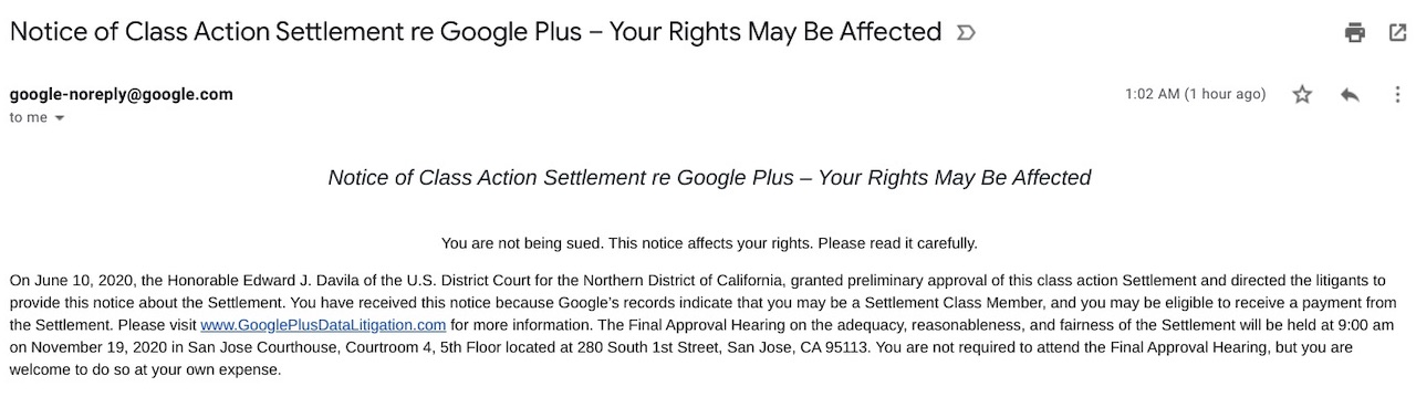 Notice of Class Action Lawsuit Against Google