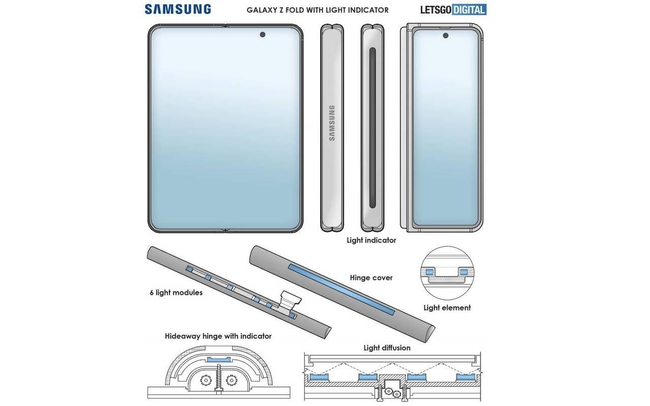Samsung Galaxy Z Fold 3 Concept Patent Hinge Light Indicator Design