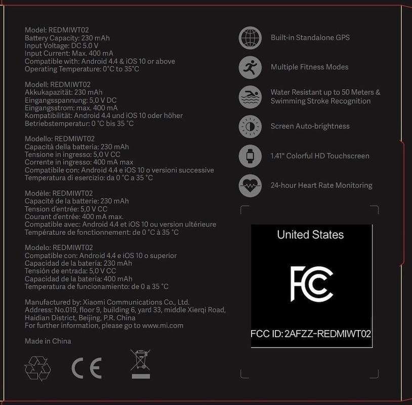Xiaomi Mi Watch Lite Specs
