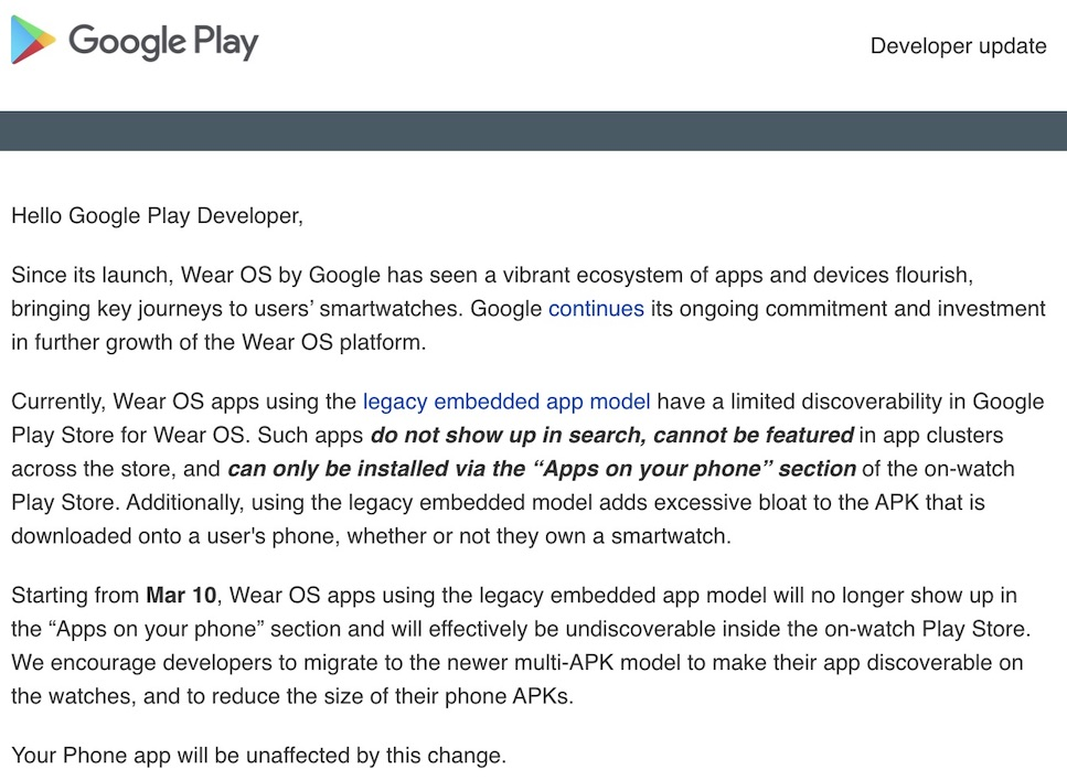 Wear OS by Google Letter to Developers