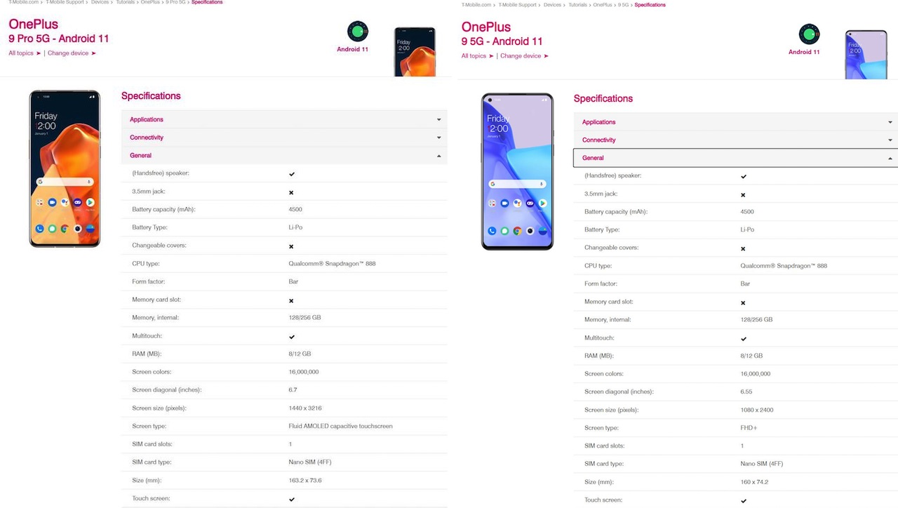 OnePlus 9 Pro 5G Android 11 T-Mobile