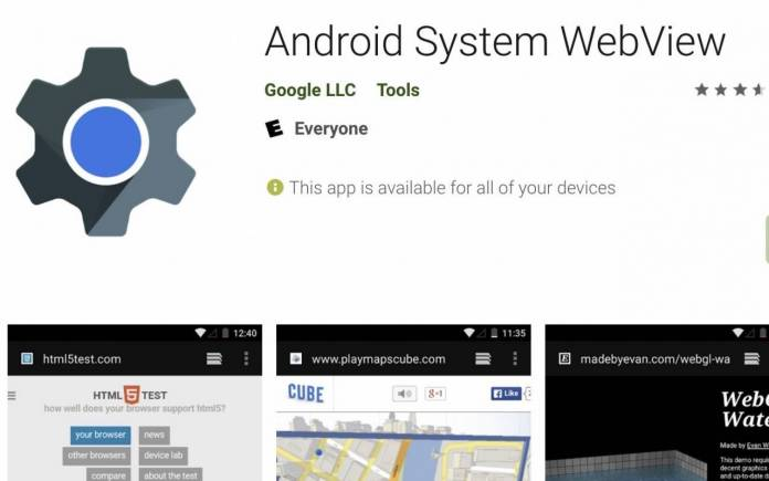 Google Chrome Android System WebView