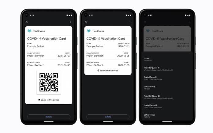 Google Passes API Covid Cards